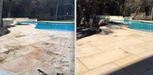 Pool deck cleaning by a Pane-less Solution in Delray Beach, FL